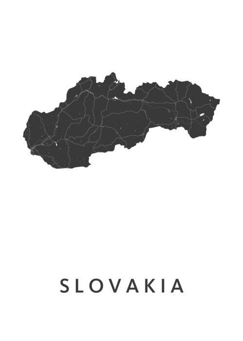Slovakia Country Map stadskaart poster