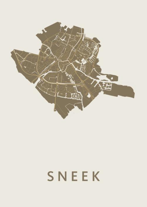 Sneek Gold Stadskaart Poster | Kunst in Kaart