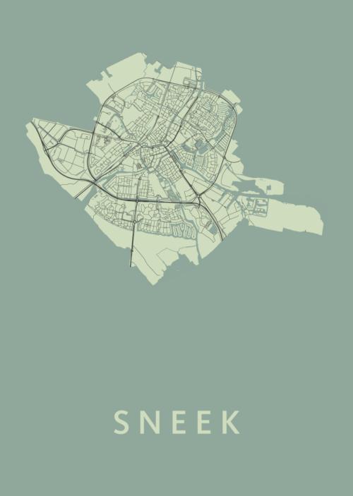 Sneek Olive Stadskaart Poster | Kunst in Kaart