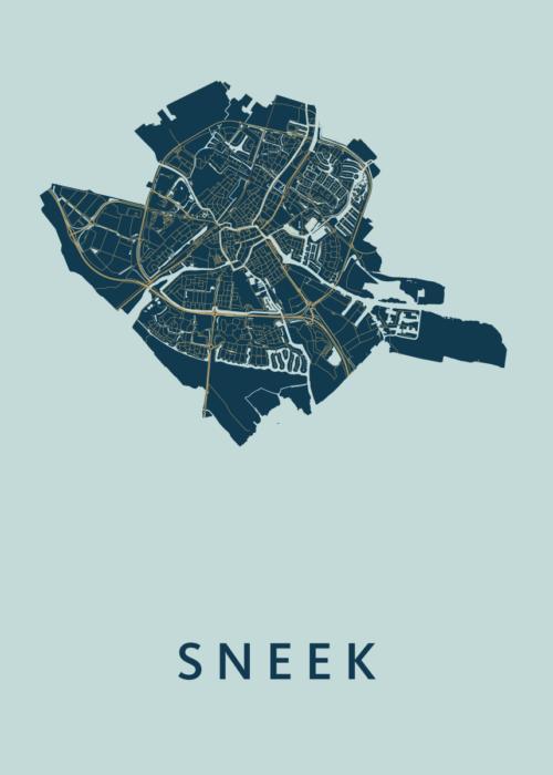 Sneek Prussian Stadskaart Poster | Kunst in Kaart