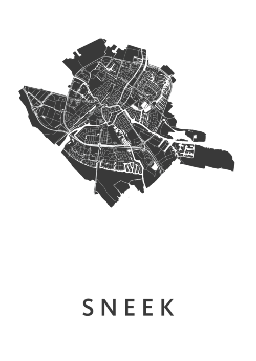 Sneek White Stadskaart Poster | Kunst in Kaart