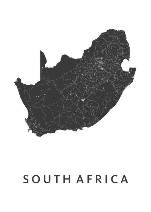 Southafrica White B2 stadskaart poster