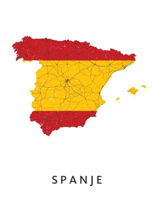 Spanje Landkaart - Landvlag - Poster