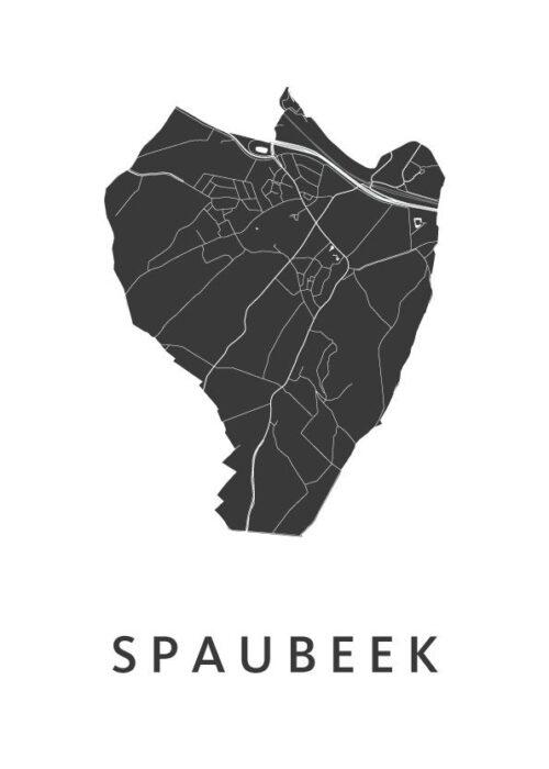 Spaubeek White Stadskaart Poster | Kunst in Kaart
