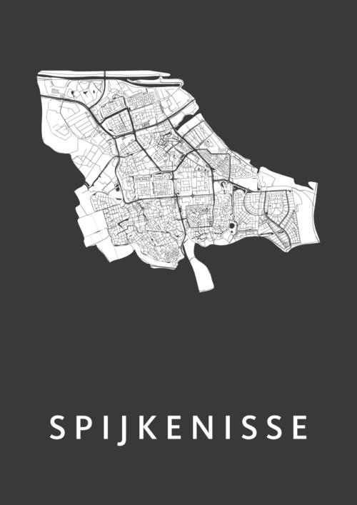 Spijkenisse Black Stadskaart Poster | Kunst in Kaart