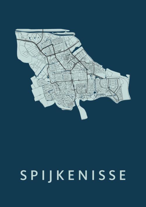 Spijkenisse Navy Stadskaart Poster | Kunst in Kaart
