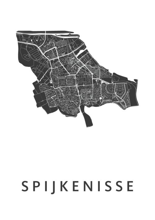 Spijkenisse White Stadskaart Poster | Kunst in Kaart