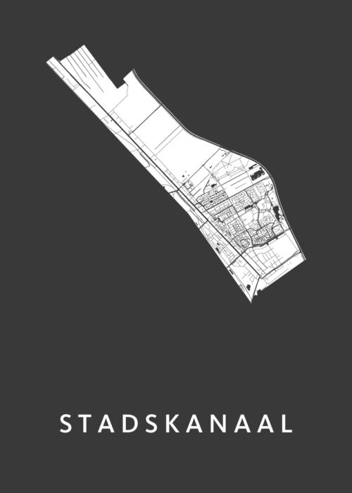 Stadskanaal Black Stadskaart Poster | Kunst in Kaart