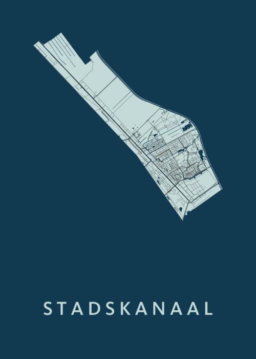 Stadskanaal Navy Stadskaart Poster | Kunst in Kaart