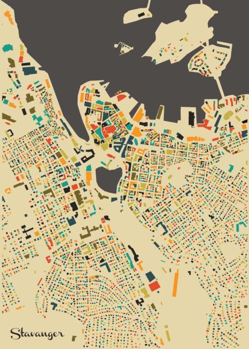 Stavanger Autumn Mosaic Map