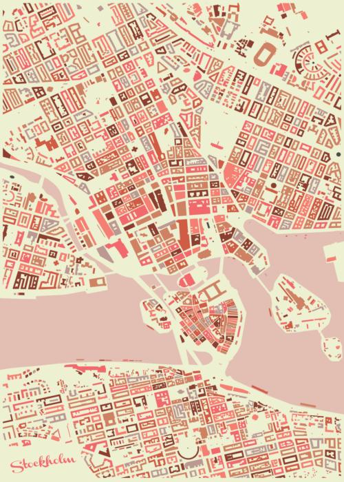 Stockholm Pink Mosaic Map