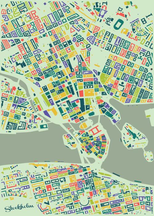 Stockholm Summer Mosaic Map