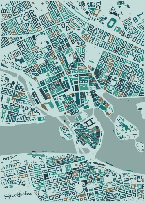 Stockholm Winter Mosaic Map
