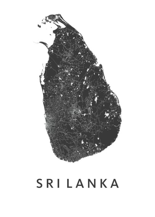 StriLanka White A3 stadskaart poster