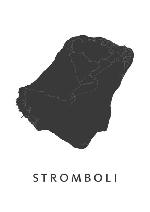 Stromboli Eiland kaart - Wit   Kunst in Kaart