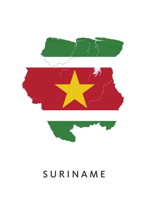 Suriname Landkaart - Landvlag - Poster