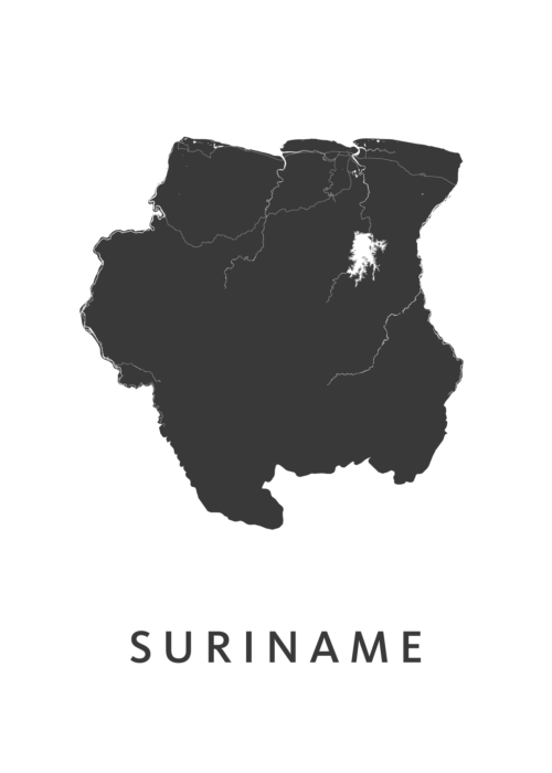Suriname Country Map stadskaart poster