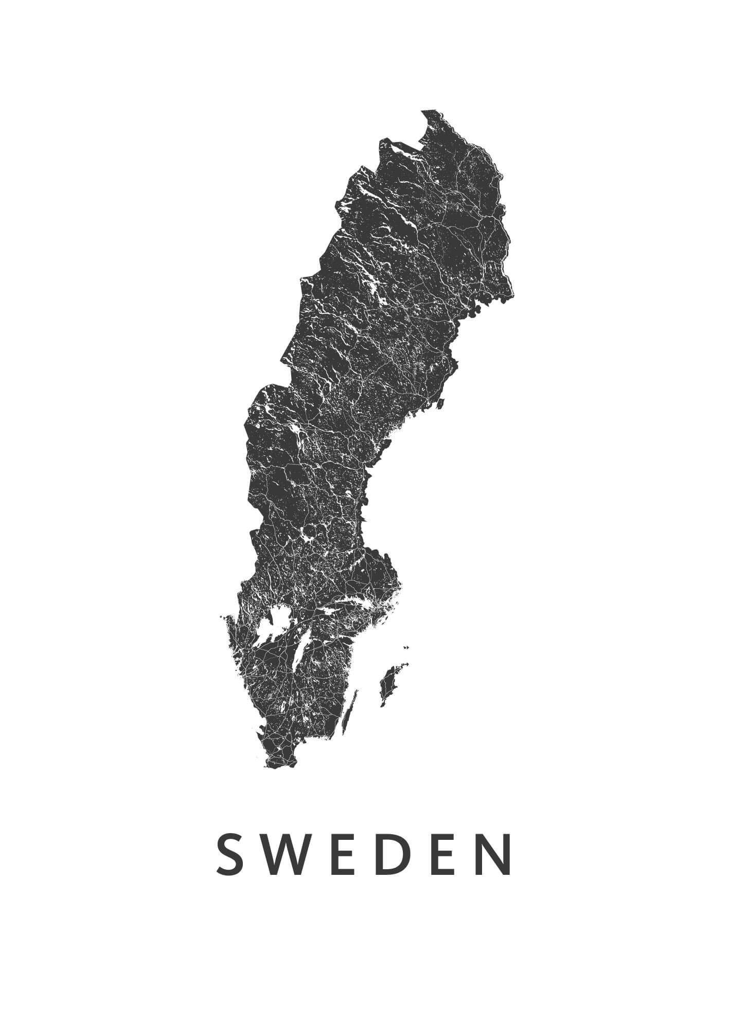 Sweden Country Map stadskaart poster