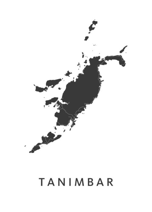 Tanimbar Eiland Kaart Poster Wit