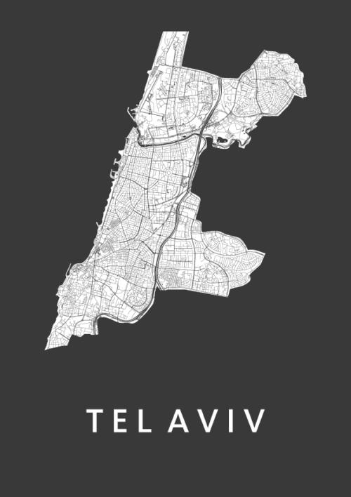 Tel Aviv Black City Map