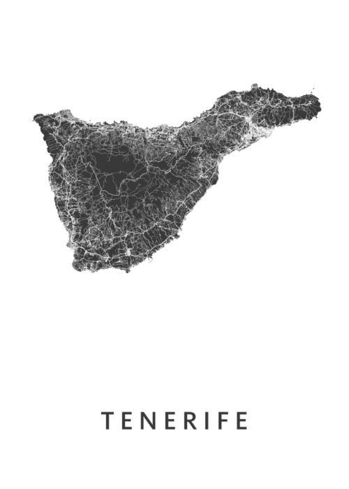 Tenerife Eilandkaart - Wit | Kunst in Kaart
