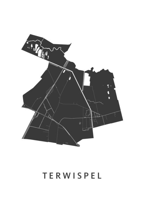 Terwispel Stadskaart - Wit | Kunst in Kaart