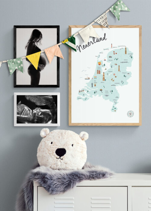 Posterwand Kunst in Kaart Kinderkamer