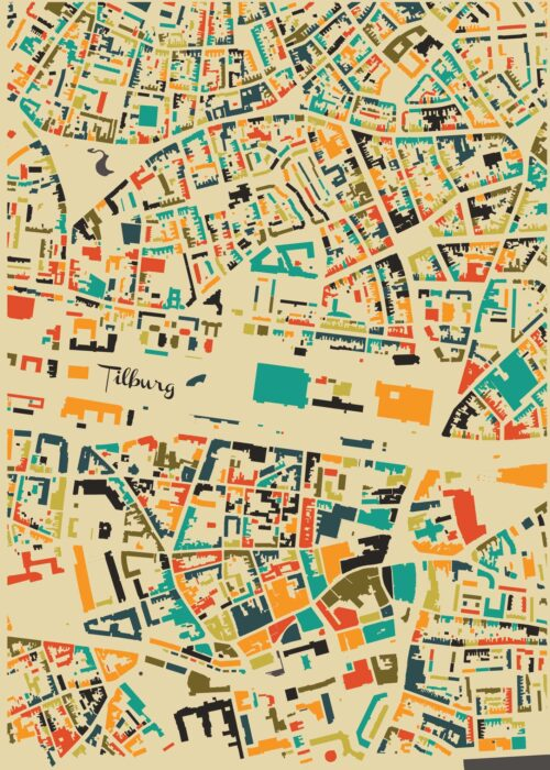 Tilburg Autumn Mosaic Map - kunst in kaart