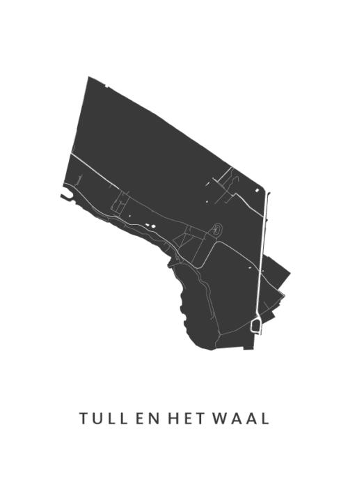 Tull en 't Waal Stadskaart - Wit | Kunst in Kaart