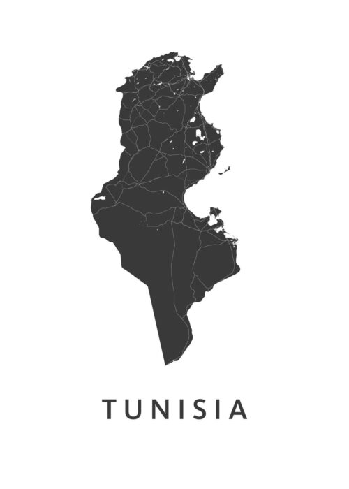 Tunisia White B2 stadskaart poster