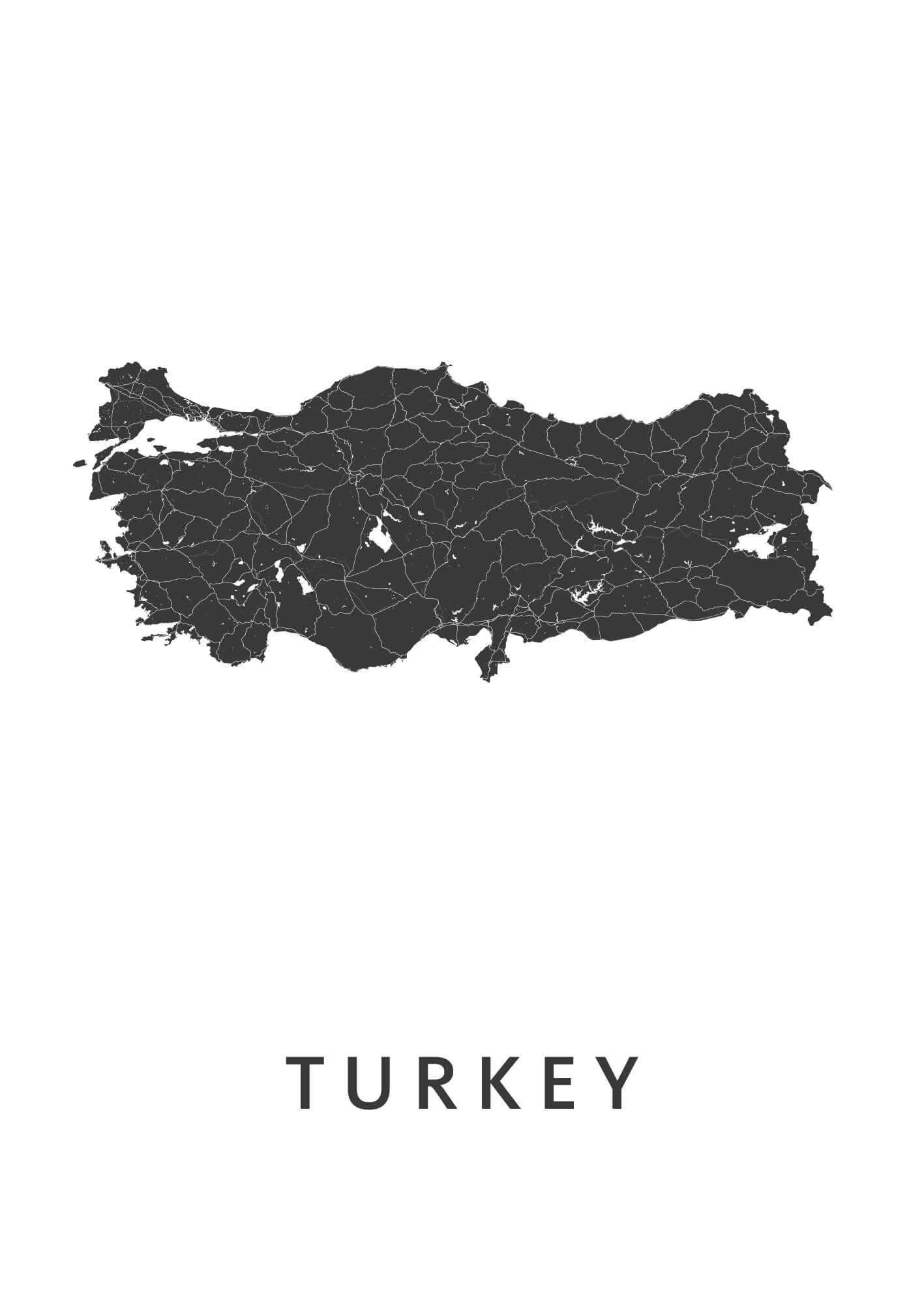 Turkey White B2 stadskaart poster