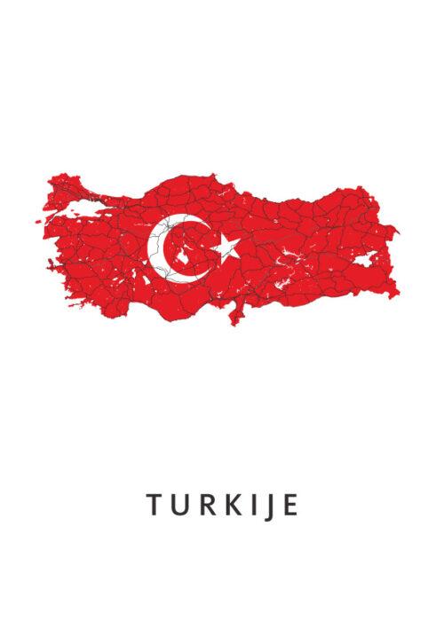 Turkije Landkaart - Landvlag - Poster