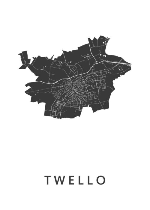Twello White Stadskaart Poster | Kunst in Kaart