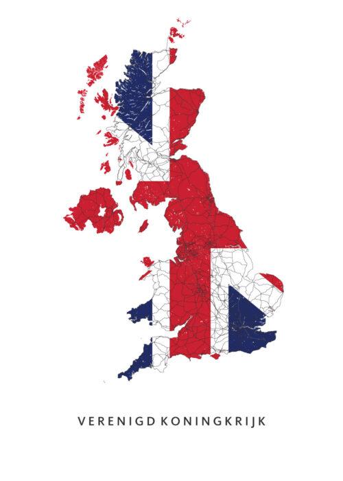 Verenigd Koninkrijk Landkaart - Landvlag - Poster