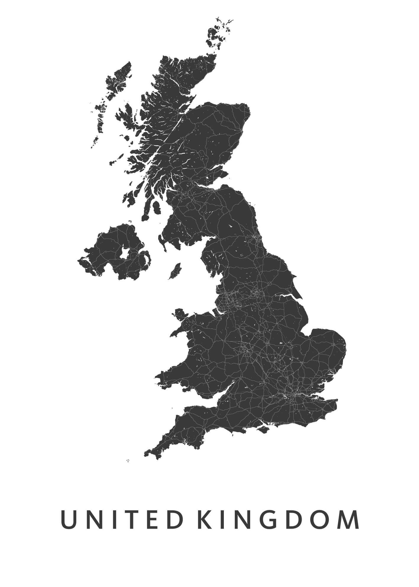 United Kingdom Country Map stadskaart poster