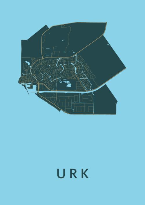 Urk Azure Stadskaart Poster | Kunst in Kaart