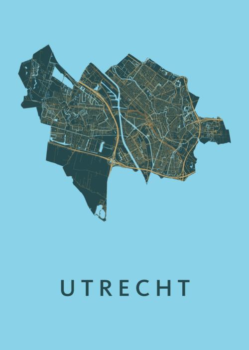 Utrecht Stadskaart poster - Azure