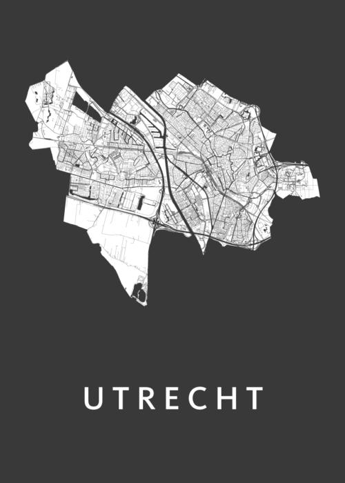 Utrecht Stadskaart poster - Zwart