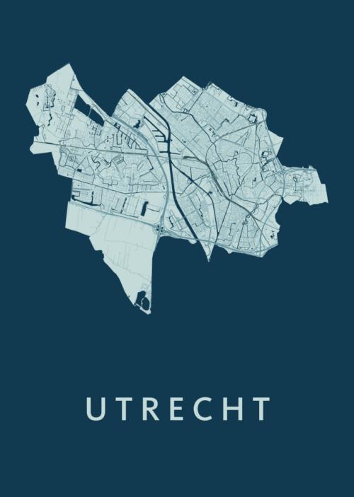 Utrecht Stadskaart poster - Feldgrau