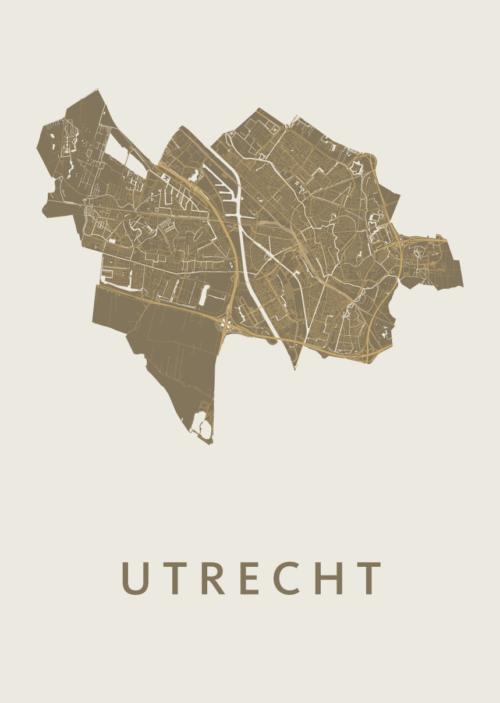 Utrecht Stadskaart poster - Gold