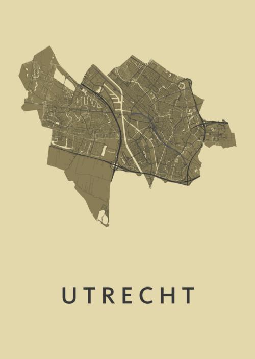 Utrecht Stadskaart poster - GoldenRod