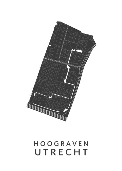 Utrecht - Hoograven White Wijk Map