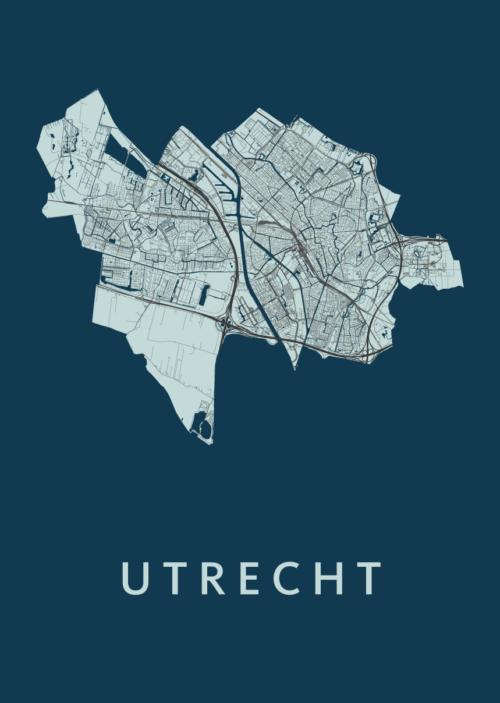 Utrecht Stadskaart poster - Navy