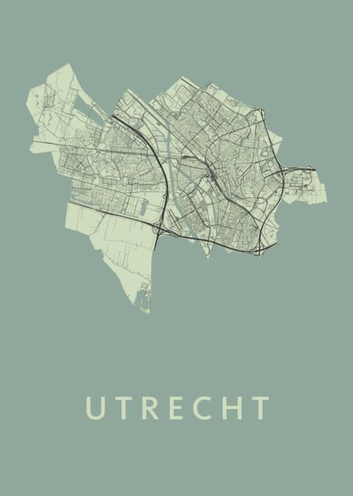 Utrecht Stadskaart poster - Olive