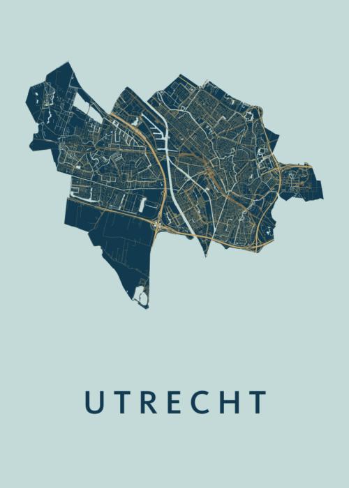 Utrecht Stadskaart poster - Prussian
