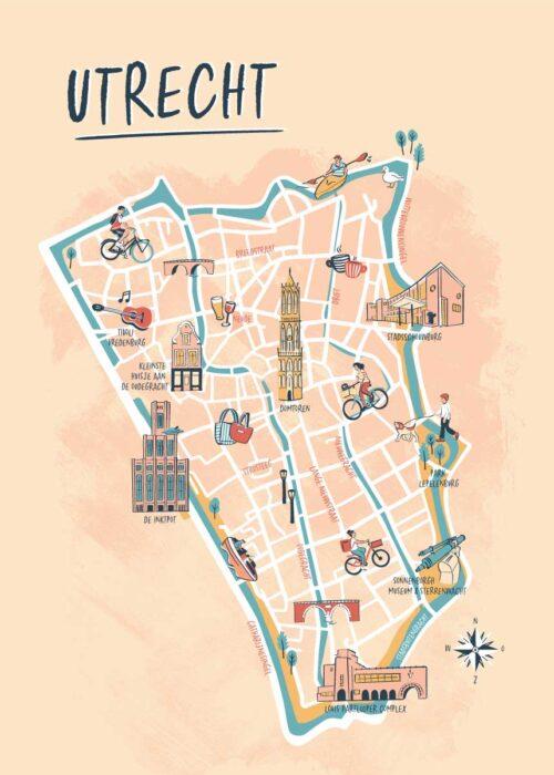 Geïllustreerde kaart - Utrecht