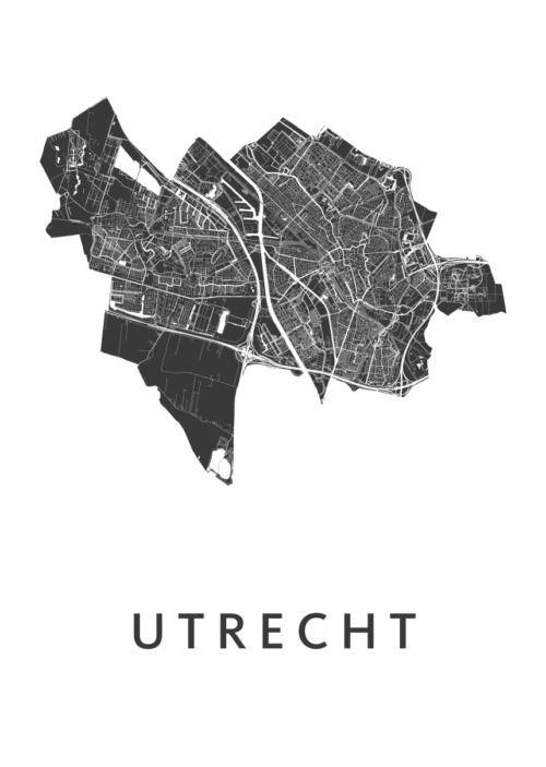Utrecht Stadskaart poster - Wit