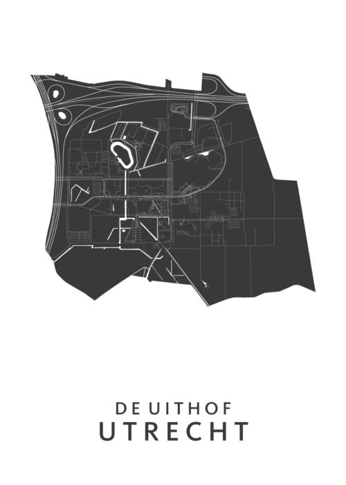 Utrecht - De Uithof Wijkkaart - wit