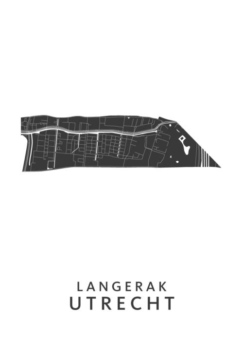 Utrecht - Langerak Wijkkaart - wit