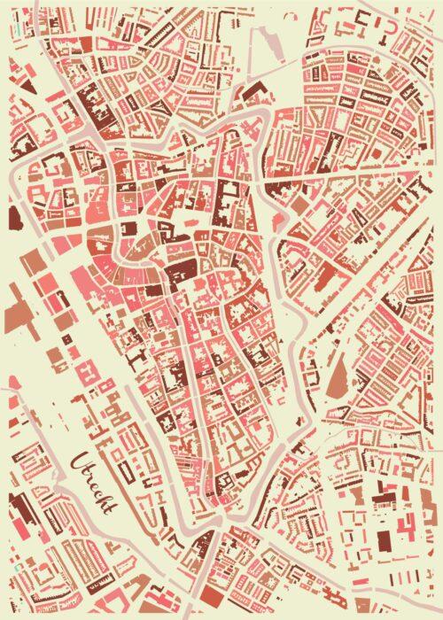 Utrecht Map Pink Mosaic